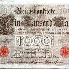 Billetes extranjeros: BILLETE 1000 MARCOS ALEMANIA 1910 ESCUDOS ROJOS MARK EXCELENTE!. Lote 71632735