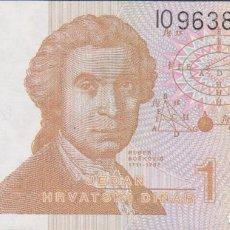 Billetes extranjeros: BILLETES - CROACIA - 1 DINAR 1991 - SERIE I 0963883 - PICK-16. Lote 128321198