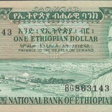 Billetes extranjeros: BILLETES - ETHIOPIA - 1 DOLLAR (1966) - SERIE BG 863140 - PICK-25 (SC). Lote 180191326