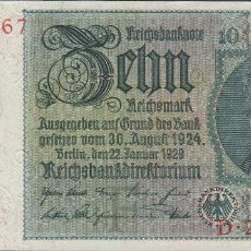 Billetes extranjeros: BILLETES - GERMANY-ALEMANIA - 10 REICHSMARK 1929 - SERIE D - PICK-180A (SC-). Lote 71918527