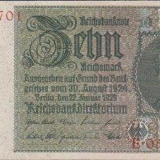 Billetes extranjeros: BILLETES - GERMANY-ALEMANIA - 10 REICHSMARK 1929 - SERIE E - PICK-180B (SC-). Lote 71918995