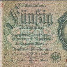 Billetes extranjeros: BILLETES - GERMANY-ALEMANIA - 50 REICHSMARK (1933) - SERIE U - PICK-182A (SC-). Lote 175976640