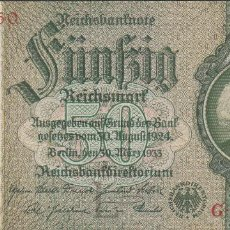 Billetes extranjeros: BILLETES - GERMANY-ALEMANIA - 50 REICHSMARK (1933) - SERIE G - PICK-182A (SC-). Lote 71919623