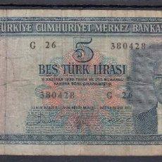 Billetes extranjeros: 0286 BILLETE TURQUIA USADO. Lote 72051327