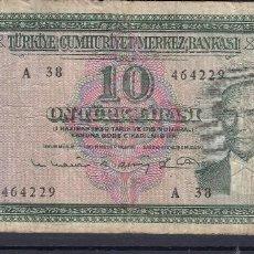 Billetes extranjeros: 0285 BILLETE TURQUIA USADO. Lote 72051463