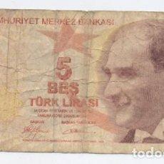 Billetes extranjeros: TURQUIA- 5 LIRAS-2009. Lote 72127823