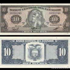 Billetes extranjeros: ECUADOR - 10 SUCRES - NOVIEMBRE 22 DE 1988 - SERIE LP - S/C. Lote 104644774