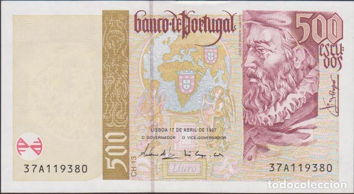 BILLETES - PORTUGAL 500 ESCUDOS 1997 - SERIE 37A 819925 - PICK-187A (SC) (Numismática - Notafilia - Billetes Extranjeros)