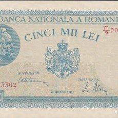 Billetes extranjeros - BILLETES - ROMANIA-RUMANIA - 5000 LEI 1945 - SERIE F/9 - PICK-56 (SC-) - 72429527
