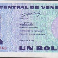 Billetes extranjeros: BILLETES - VENEZUELA - 1 BOLIVAR 1989 - SERIE A 45456624 - PICK-68 (SC). Lote 237406705