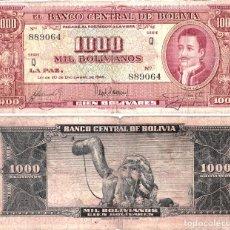 Billetes extranjeros: BILLETE 1000 BOLIVIANOS DE 1945. Lote 75025855