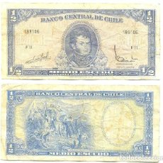 Billetes extranjeros: CHILE 1/2 ESCUDO 1962, FIRMA III PICK 134.A.A. Lote 43489561
