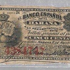 Billetes extranjeros: BILLETE. 5 CENTAVOS. 1883. BANCO ESPAÑOL DE LA HABANA. CUBA. VER DORSO. Lote 75203611