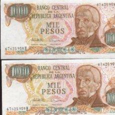 Billetes extranjeros: 2 BILLETES DE 1000 PESOS ARGENTINOS VER FOTO QUE NO TE FALTE EN TU COLECCION. Lote 248984780
