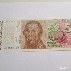 Billetes extranjeros: ARGENTINA * 5 AUSTRALES. Lote 76090407