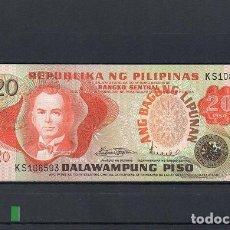 Billetes extranjeros: FILIPINAS 1970, 20 PISO. PK-155A, SC-UNC, 2 ESCANER. Lote 78304193