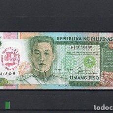 Billetes extranjeros: FILIPINAS 1989, 5 PISO. PK-177A, SC-UNC, 2 ESCANER. Lote 78304441