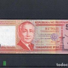 Billetes extranjeros: FILIPINAS 1995, 50 PISO. PK-183A, SC-UNC, 2 ESCANER. Lote 78304697