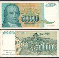 Notas Internacionais: YUGOSLAVIA 500000 DINARA 1993 PICK 131 MBC VF. Lote 253241965