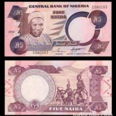 Billetes extranjeros: NIGERIA - 5 NAIRA - AÑO 2002 S/C. Lote 82676956
