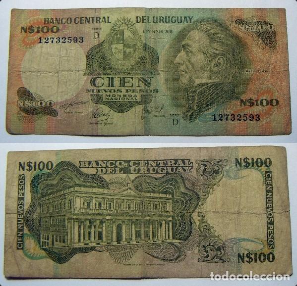 BILLETE DE URUGUAY 100 NUEVOS PESOS CIRCULADO (Numismática - Notafilia - Billetes Extranjeros)