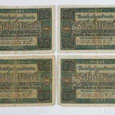 Billetes extranjeros: 4 BILLETES REICHSBANKNOTE DE 10 BERLÍN 1920-ALEMANIA. Lote 80857095
