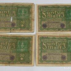 Billetes extranjeros: 4 BILLETES REICHSBANKNOTE DE 50 BERLÍN 1919-ALEMANIA. Lote 80857551