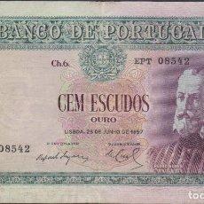 Billetes extranjeros: BILLETES PORTUGAL - 100 ESCUDOS 25-6-1957 - SERIE EPT - PICK-159 (MBC). Lote 80913148