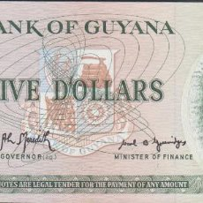 Billetes extranjeros: BILLETES GUYANA - 5 DOLLARS (1966-92) SERIE A/39-467162 - PICK-22F (SC). Lote 295740708