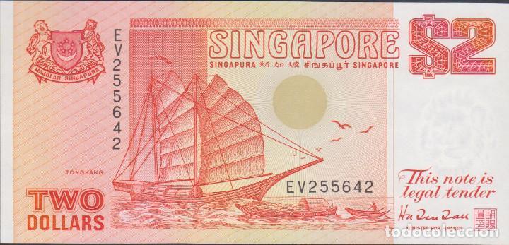 BILLETES SINGAPUR - 2 DOLLARS (CA.1990) - SERIE EV 255680 - PICK-27 (SC) (Numismática - Notafilia - Billetes Extranjeros)