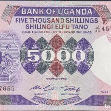 Billetes extranjeros: BILLETES UGANDA - 5000 SHILLINGS 1986 - SERIE J/48 457612 - PICK-24B (SC). Lote 179555233