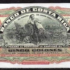 Billetes extranjeros: COSTA RICA 5 COLONES (ND) 1901/1908 S/C. Lote 81891272