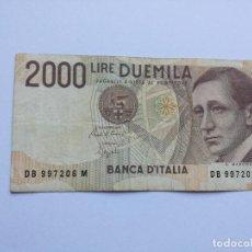 Billetes extranjeros: BILLETE ITALIANO ITALIA - 2000 LIRE - AÑO 1990. Lote 83122548