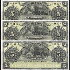 Billetes extranjeros: COSTA RICA TRIO CORRELATIVO 5 PESOS 1899 S/C. Lote 84276836
