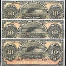Billetes extranjeros: COSTA RICA TRIO CORRELATIVO 10 PESOS 1899 S/C. Lote 84276932