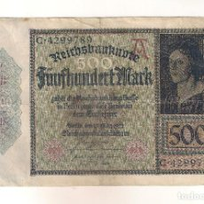 Billetes extranjeros: BILLETE DE ALEMANIA DE 500 MARCOS DE 1922. MBC. CATÁLOGO WORLD PAPER MONEY-73. (BE163).. Lote 84329900