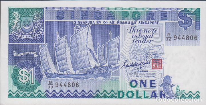 BILLETES SINGAPUR - 1 DOLLAR (1987) - SERIE B/30 944895 - PICK-18A (SC) (Numismática - Notafilia - Billetes Extranjeros)