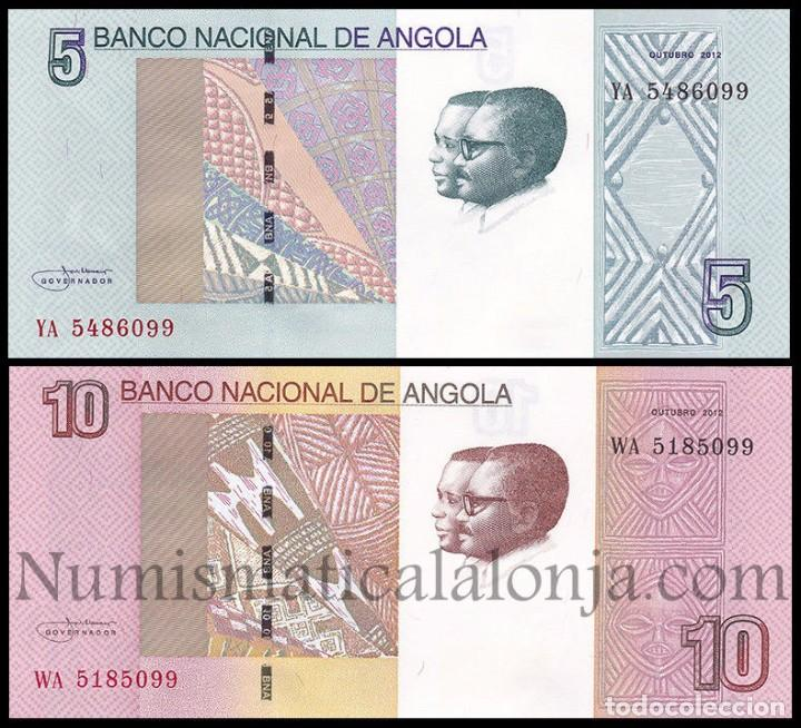 ANGOLA SET 2 BILLETES 5 Y 10 KWANZAS 2012 (2017) PICK NUEVO SC UNC (Numismática - Notafilia - Billetes Extranjeros)