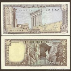 Billetes extranjeros: LIBANO. 1 LIVRES 1980. PICK 61C. S/C.. Lote 262004985