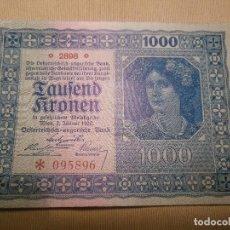 Billetes extranjeros: BILLETE 1000 CORONAS KRONEN AUSTRIA 1922 SC. Lote 85545356