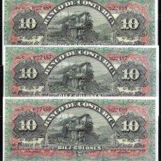 Billetes extranjeros: COSTA RICA TRIO CORRELATIVO 10 COLONES (ND) 1901/1908 S/C. Lote 86181464