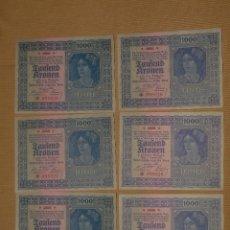 Billetes extranjeros: 1000 MIL CORONAS KRONEN AUSTRIA 1922 SEIS BILLETES CORRELATIVOS SC.. Lote 86385036