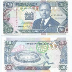Billetes extranjeros: KENIA - KENYA 20 SHILINGS 1993, FIRMA 11 PICK 31.A. Lote 86432440