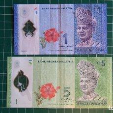 Billetes extranjeros: 2 BILLETES BANK NEGARA MALAYSIA. BANCO MALASIA. 1 Y 5 RINGGIT MALAYSIA. KUALA LUMPUR. POLIMERO. VER. Lote 86444348