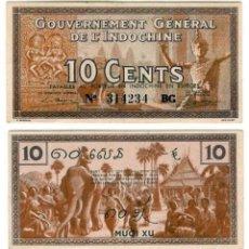 Billetes extranjeros: BILLETE INDOCHINA - 10 CENTS - 1939 - PICK.85 - E.B.C. - ESCASO. Lote 86733348