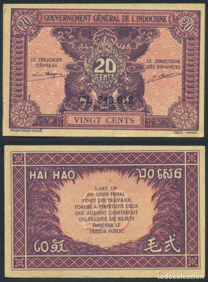 BILLETE INDOCHINA - 20 CENTS - 1942 - E.B.C. - ESCASO (Numismática - Notafilia - Billetes Extranjeros)