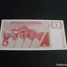 Billetes extranjeros: PRECIOSO BILLETE PLANCHA DE SLOVENIA 5 TOLARJEV DEL AÑO 1990 VER TODOS MIS LOTES DE BILLETES. Lote 244582580