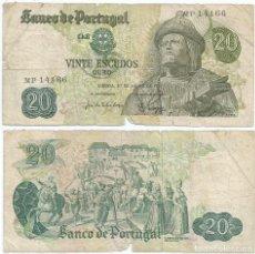 Billetes extranjeros: PORTUGAL 20 ESCUDOS 1971 PICK 173.1. Lote 87230024