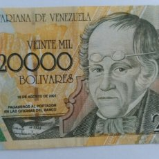 Billetes extranjeros: BILLETE VENEZUELA 2001. SERIE A. FUERA CIRCULACIÓN. 20.000 BS. BUSTO DEL MAESTRO DON SIMÓN RODRIGUEZ. Lote 88142627
