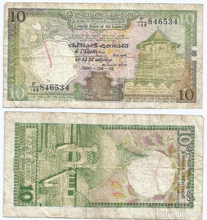 SRI LANKA 10 RUPEES 1990 PICK 96.E (Numismática - Notafilia - Billetes Extranjeros)